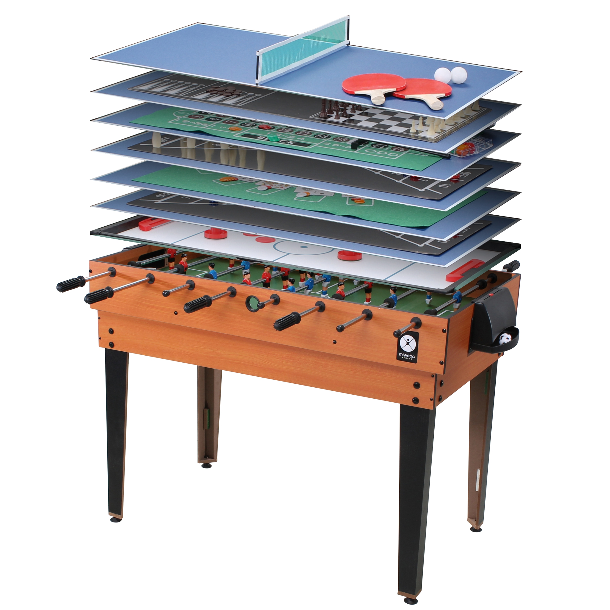 quadfactory bottrop miweba multigame spieletisch 15 in 1 tischfu ball kicker billard hockey. Black Bedroom Furniture Sets. Home Design Ideas