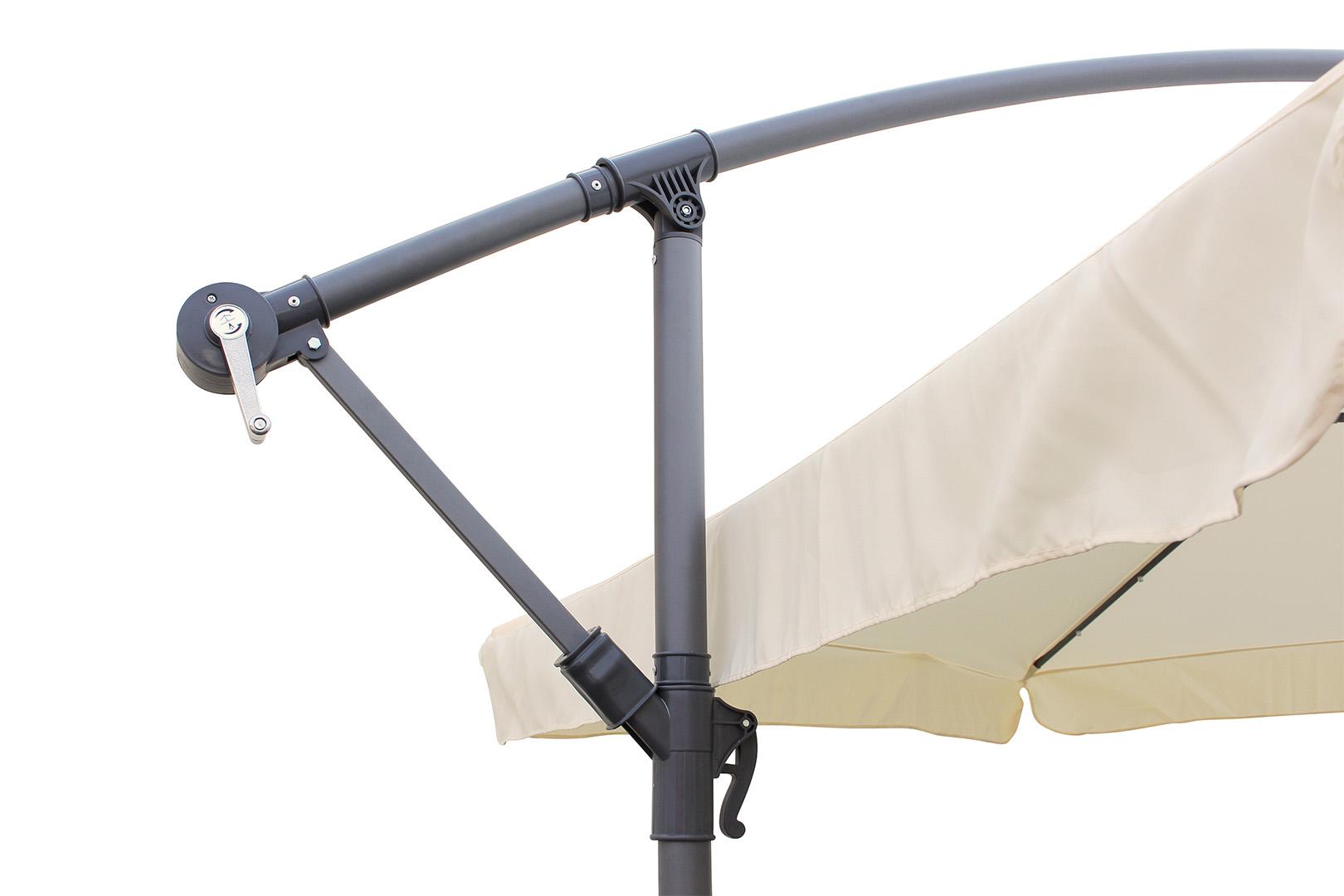quadfactory bottrop miweba ampelschirm sunny volant led 350 cm mit schutzh lle. Black Bedroom Furniture Sets. Home Design Ideas